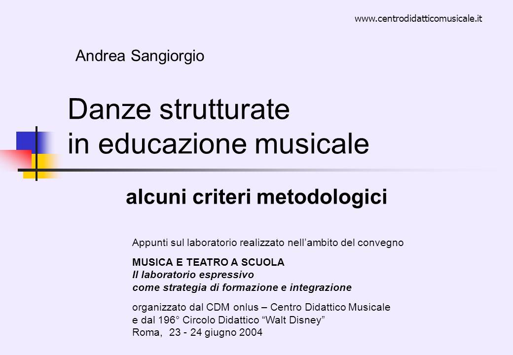 Danze strutturate in educazione musicale alcuni criteri metodologici Andrea Sangiorgio Appunti sul laboratorio realizzato nellambito del convegno MUSI