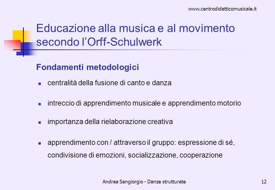 www.centrodidatticomusicale.it Andrea Sangiorgio - Danze strutturate12 Educazione alla musica e al movimento secondo lOrff-Schulwerk Fondamenti metodo