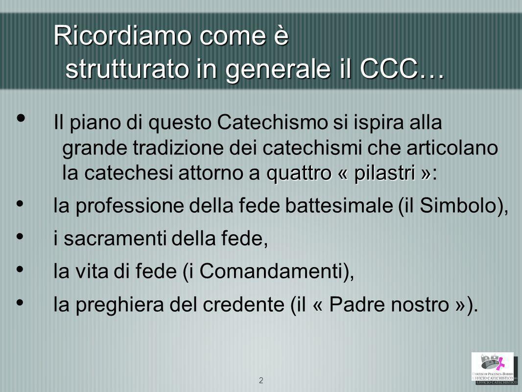 Ricordiamo come è strutturato in generale il CCC… quattro « pilastri » Il piano di questo Catechismo si ispira alla grande tradizione dei catechismi c
