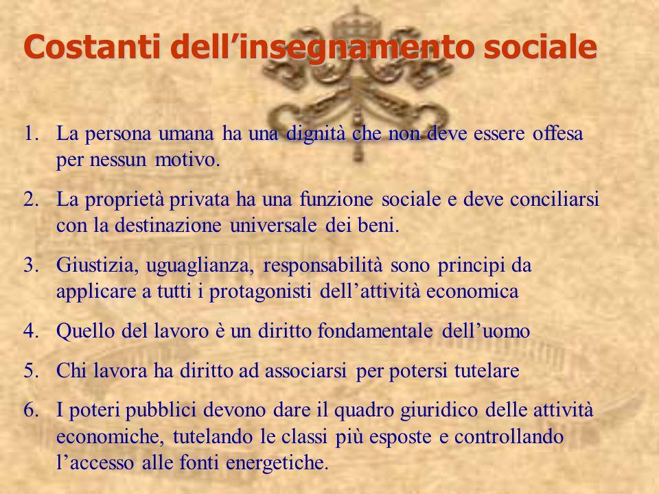 Costanti dellinsegnamento sociale unadignità che non deve 1.La persona umana ha una dignità che non deve essere offesa per nessun motivo.