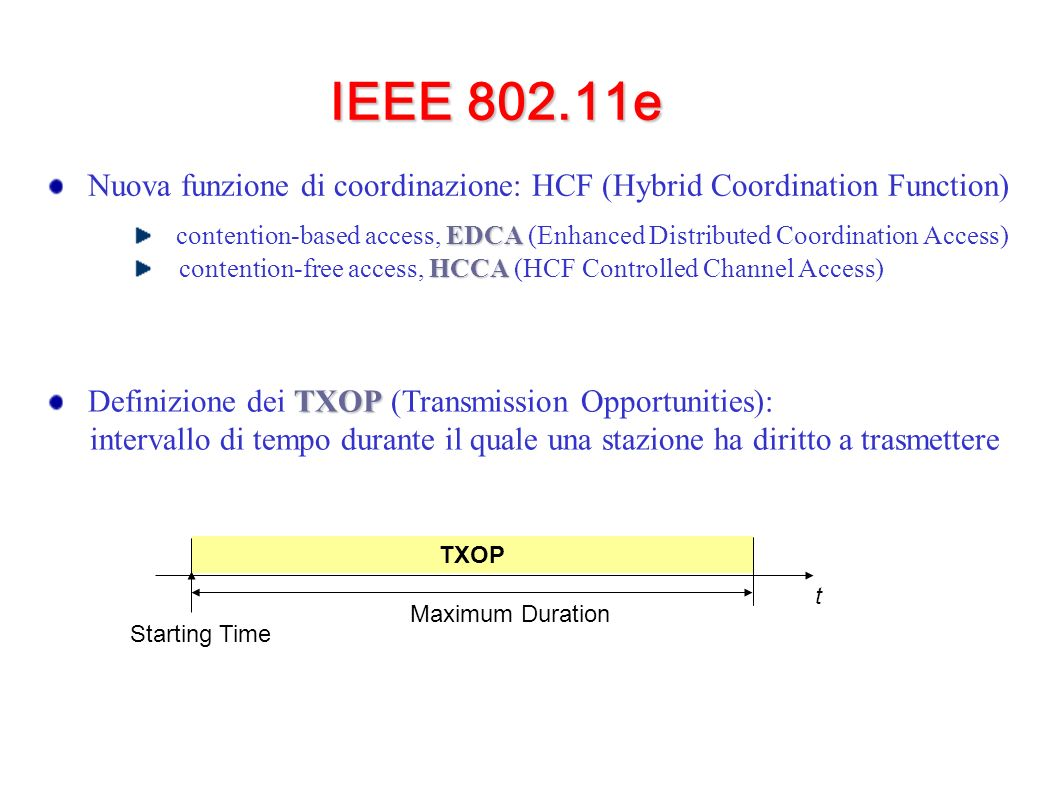 IEEE 802.11e Nuova funzione di coordinazione: HCF (Hybrid Coordination Function) EDCA contention-based access, EDCA (Enhanced Distributed Coordination Access) HCCA contention-free access, HCCA (HCF Controlled Channel Access) TXOP Definizione dei TXOP (Transmission Opportunities): intervallo di tempo durante il quale una stazione ha diritto a trasmettere TXOP Starting Time Maximum Duration t