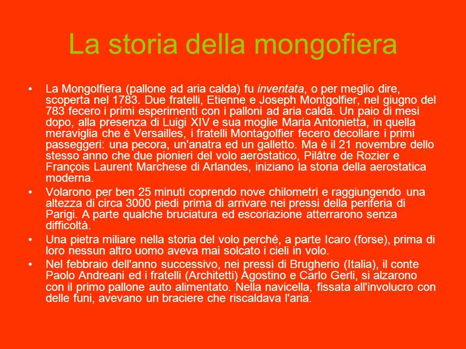 La storia della mongofiera La Mongolfiera (pallone ad aria calda) fu inventata, o per meglio dire, scoperta nel 1783. Due fratelli, Etienne e Joseph M