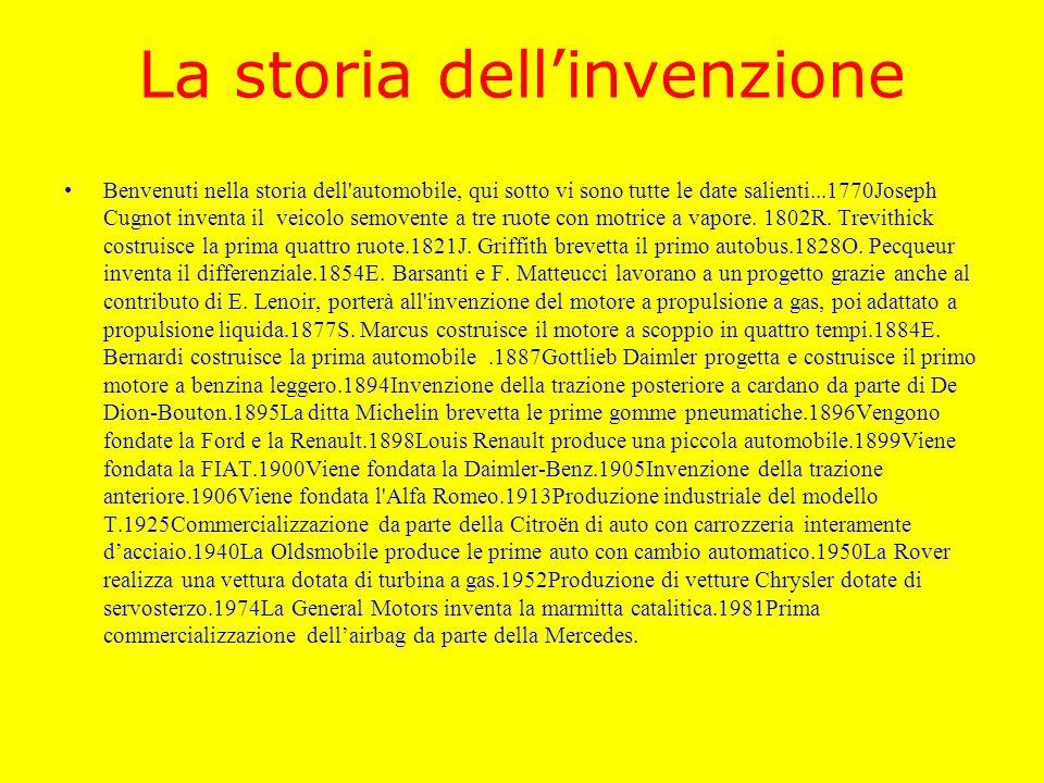 La storia dellinvenzione Benvenuti nella storia dell'automobile, qui sotto vi sono tutte le date salienti...1770Joseph Cugnot inventa il veicolo semov