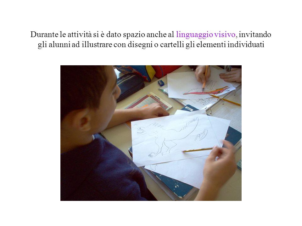 Durante le attività si è dato spazio anche al linguaggio visivo, invitando gli alunni ad illustrare con disegni o cartelli gli elementi individuati