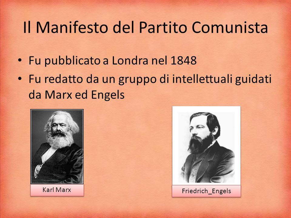 Il Manifesto del Partito Comunista Fu pubblicato a Londra nel 1848 Fu redatto da un gruppo di intellettuali guidati da Marx ed Engels Karl Marx Friedrich_Engels