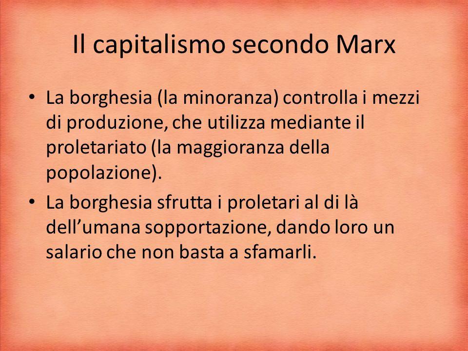 Il capitalismo secondo Marx La borghesia (la minoranza) controlla i mezzi di produzione, che utilizza mediante il proletariato (la maggioranza della popolazione).