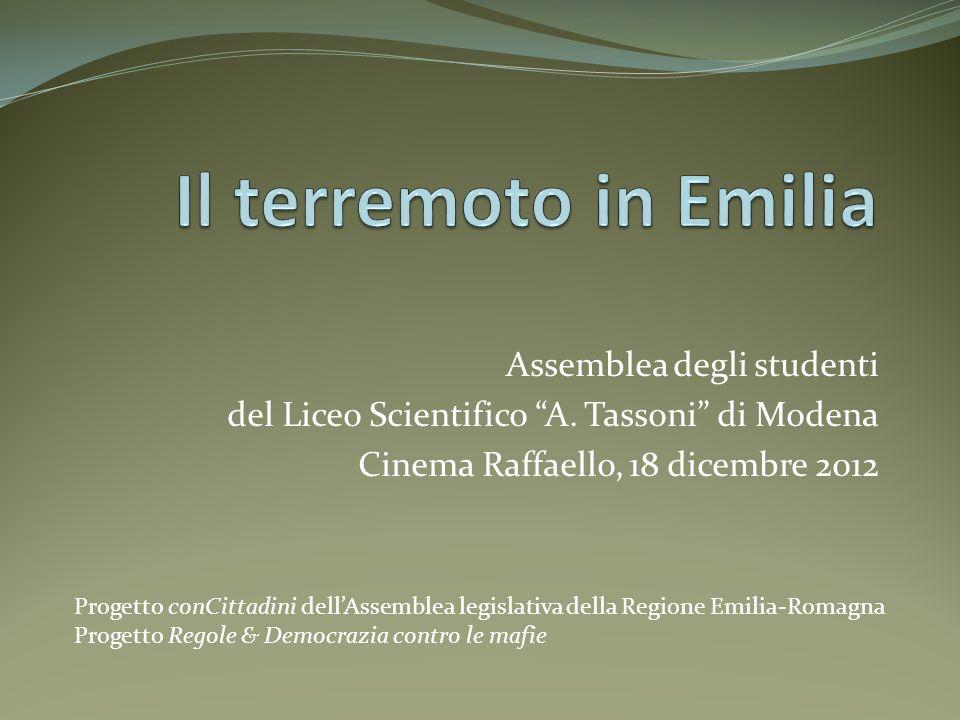 Assemblea degli studenti del Liceo Scientifico A. Tassoni di Modena Cinema Raffaello, 18 dicembre 2012 Progetto conCittadini dellAssemblea legislativa