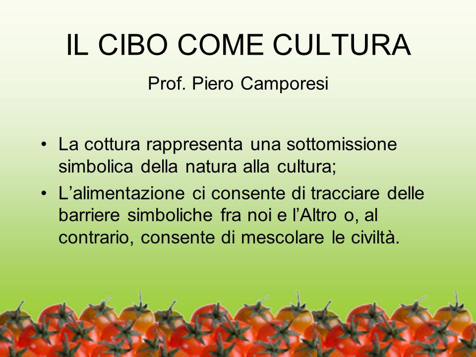 11 IL CIBO COME CULTURA Prof. Piero Camporesi La cottura rappresenta una sottomissione simbolica della natura alla cultura; Lalimentazione ci consente