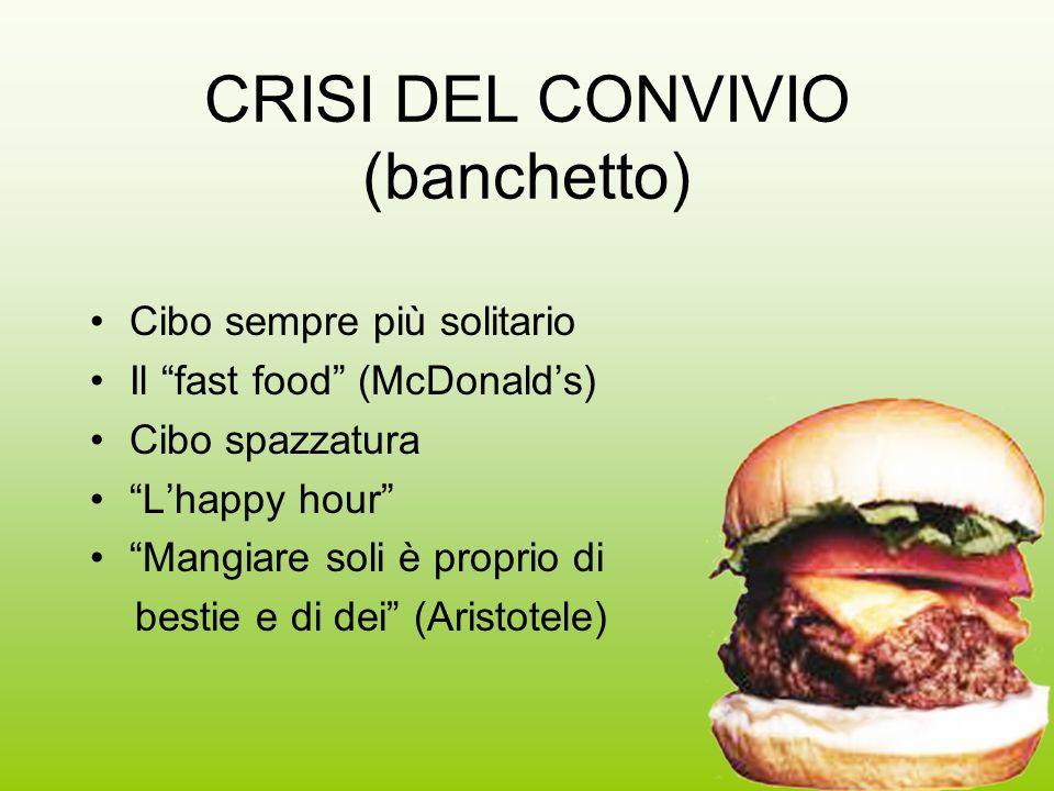 13 CRISI DEL CONVIVIO (banchetto) Cibo sempre più solitario Il fast food (McDonalds) Cibo spazzatura Lhappy hour Mangiare soli è proprio di bestie e d
