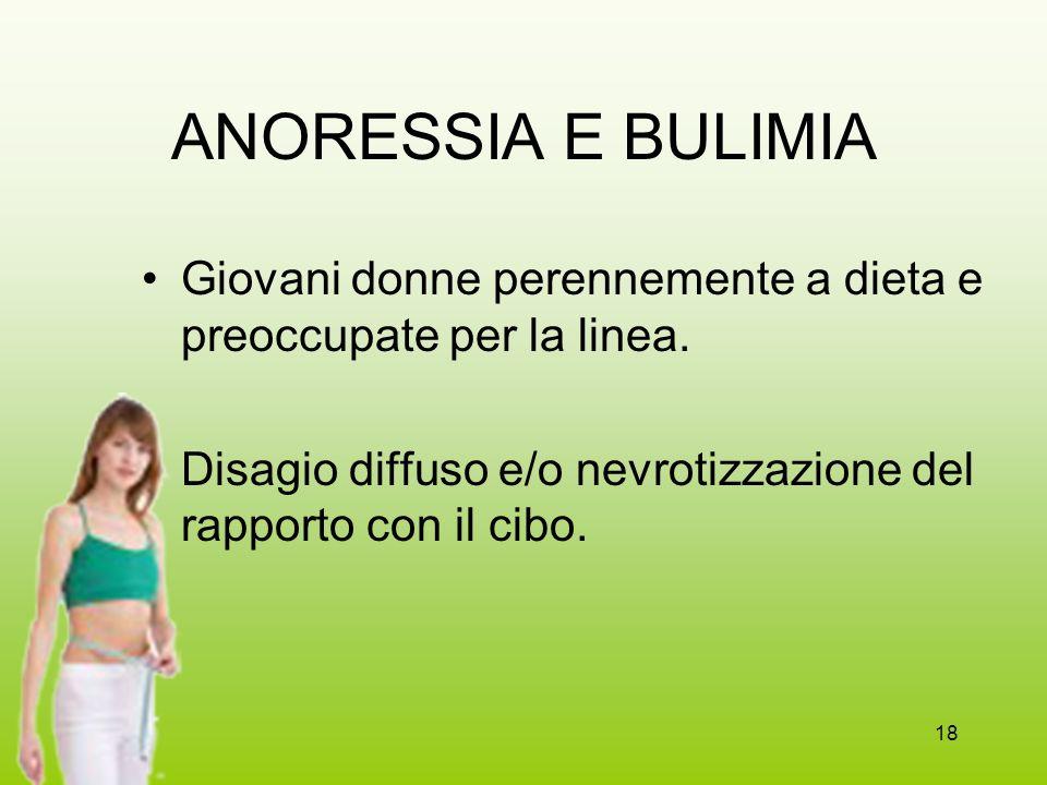 18 ANORESSIA E BULIMIA Giovani donne perennemente a dieta e preoccupate per la linea. Disagio diffuso e/o nevrotizzazione del rapporto con il cibo.