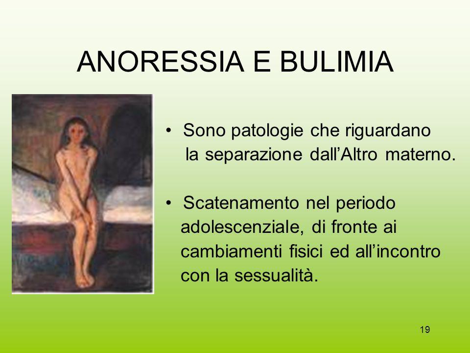 19 ANORESSIA E BULIMIA Sono patologie che riguardano la separazione dallAltro materno. Scatenamento nel periodo adolescenziale, di fronte ai cambiamen