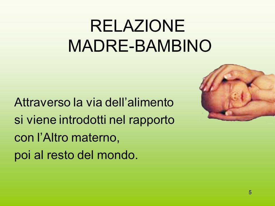 5 RELAZIONE MADRE-BAMBINO Attraverso la via dellalimento si viene introdotti nel rapporto con lAltro materno, poi al resto del mondo.