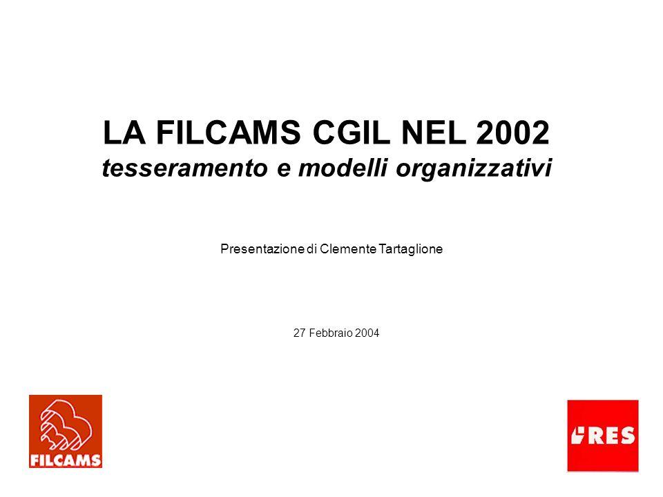 LA FILCAMS CGIL NEL 2002 tesseramento e modelli organizzativi Presentazione di Clemente Tartaglione 27 Febbraio 2004