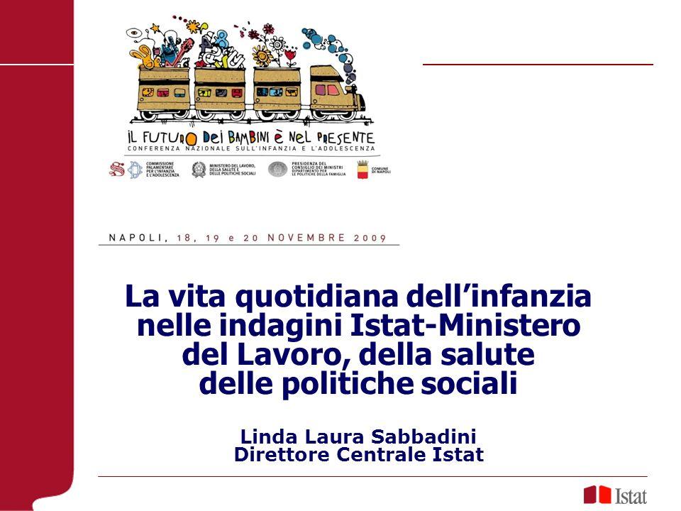 La vita quotidiana dellinfanzia nelle indagini Istat-Ministero del Lavoro, della salute delle politiche sociali Linda Laura Sabbadini Direttore Centrale Istat