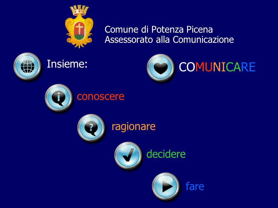 Comune di Potenza Picena Assessorato alla Comunicazione Insieme: decidere ragionare fare conoscere COMUNICARE