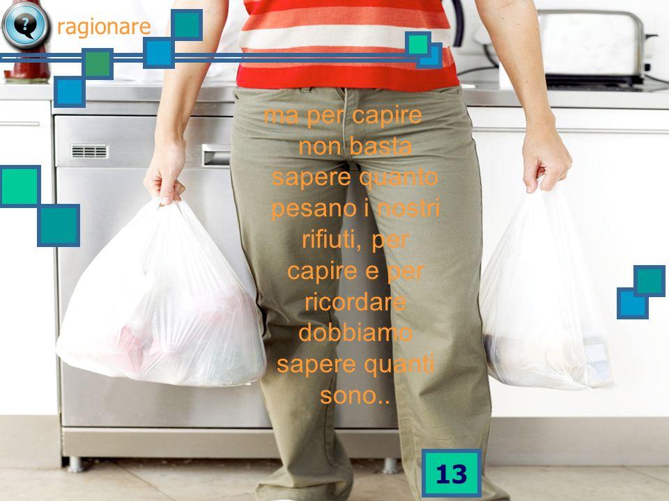 12 Sappiamo che ogni anno in Italia produciamo 32 miliardi di chili di rifiuti urbani.