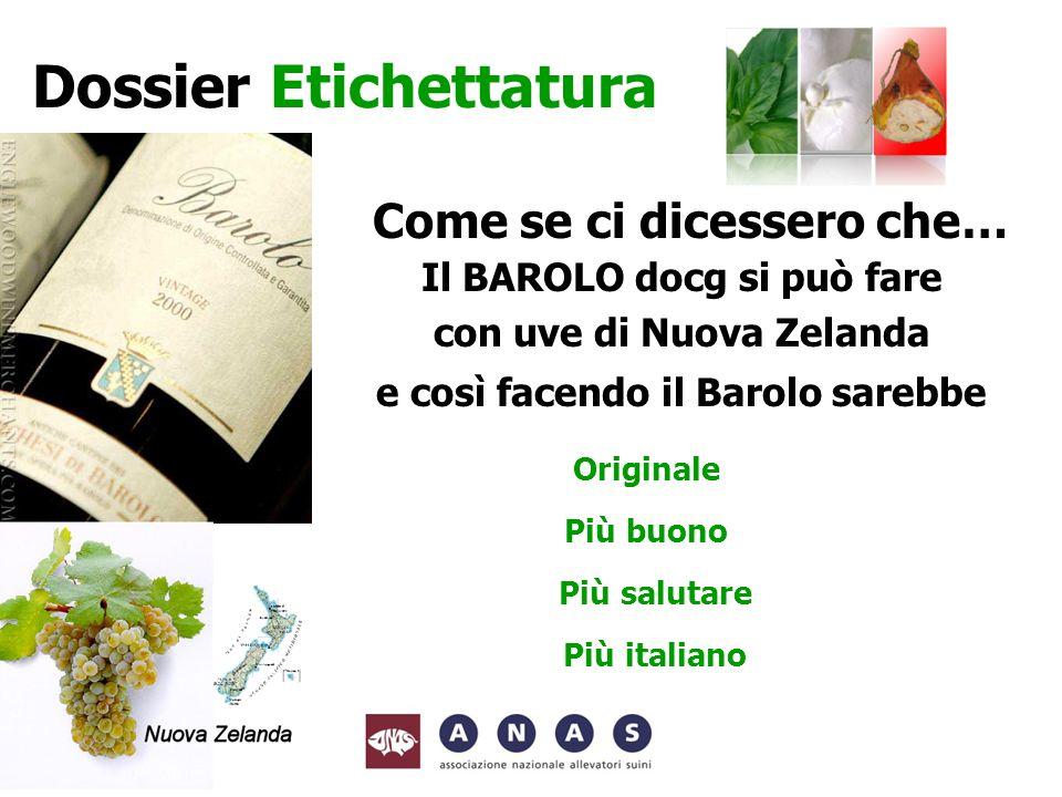 Dossier Etichettatura BAROLO docg con uve di Nuova Zelanda Il salume richiede carne: più matura Salumi italiani con SUINO ESTERO più saporita meno acquosa Caratteristiche del Suino Pesante > 156 kg, che si fa solo in ITALIA.
