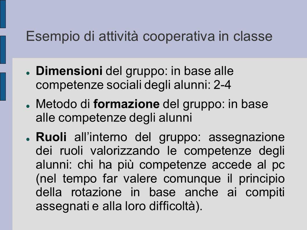 Esempio di attività cooperativa in classe Dimensioni del gruppo: in base alle competenze sociali degli alunni: 2-4 Metodo di formazione del gruppo: in
