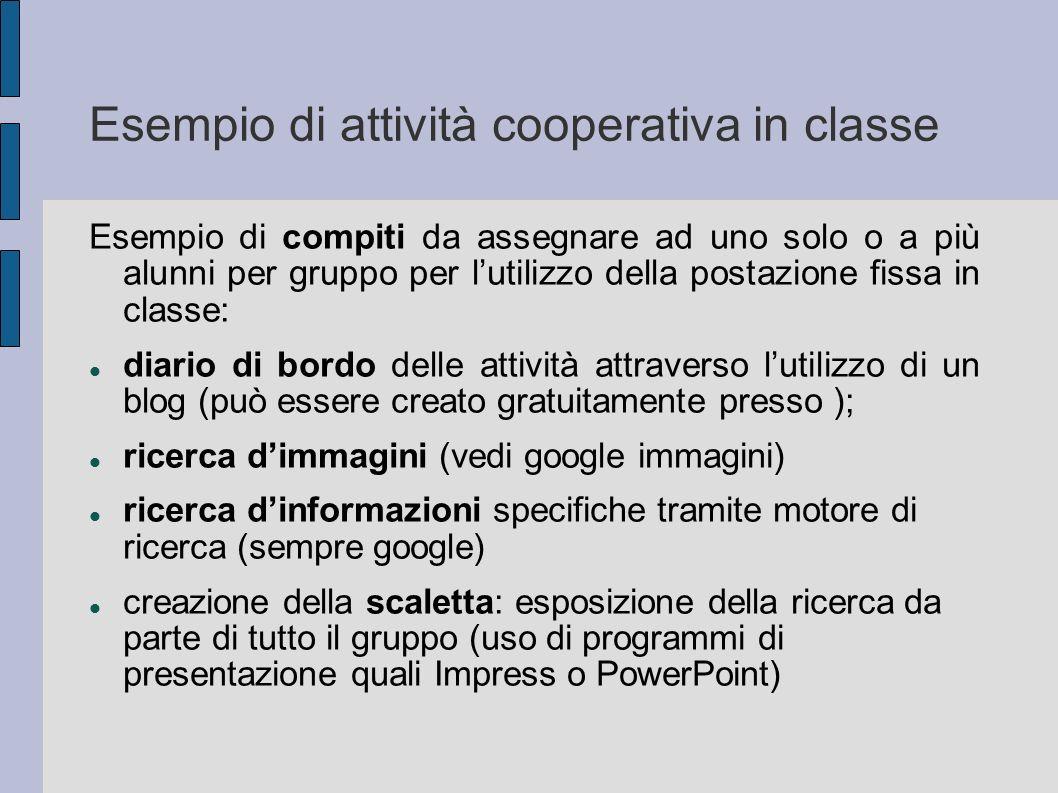 Esempio di attività cooperativa in classe Esempio di compiti da assegnare ad uno solo o a più alunni per gruppo per lutilizzo della postazione fissa i