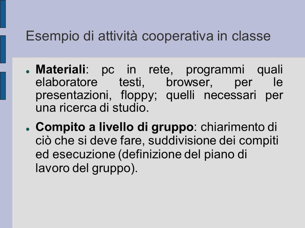 Esempio di attività cooperativa in classe Materiali: pc in rete, programmi quali elaboratore testi, browser, per le presentazioni, floppy; quelli nece