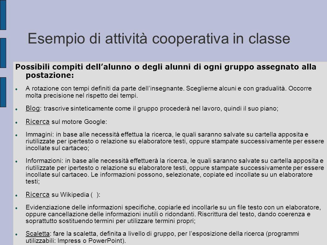 Esempio di attività cooperativa in classe Possibili compiti dellalunno o degli alunni di ogni gruppo assegnato alla postazione: A rotazione con tempi