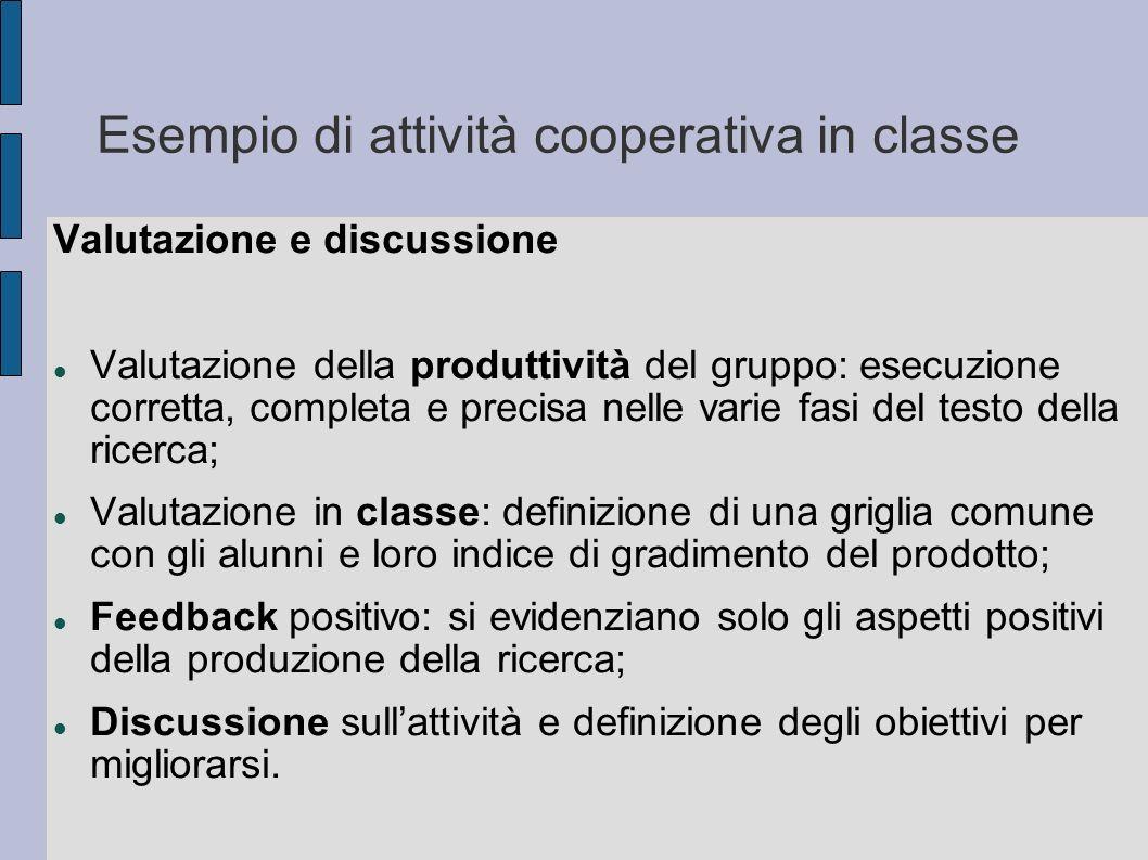 Esempio di attività cooperativa in classe Valutazione e discussione Valutazione della produttività del gruppo: esecuzione corretta, completa e precisa