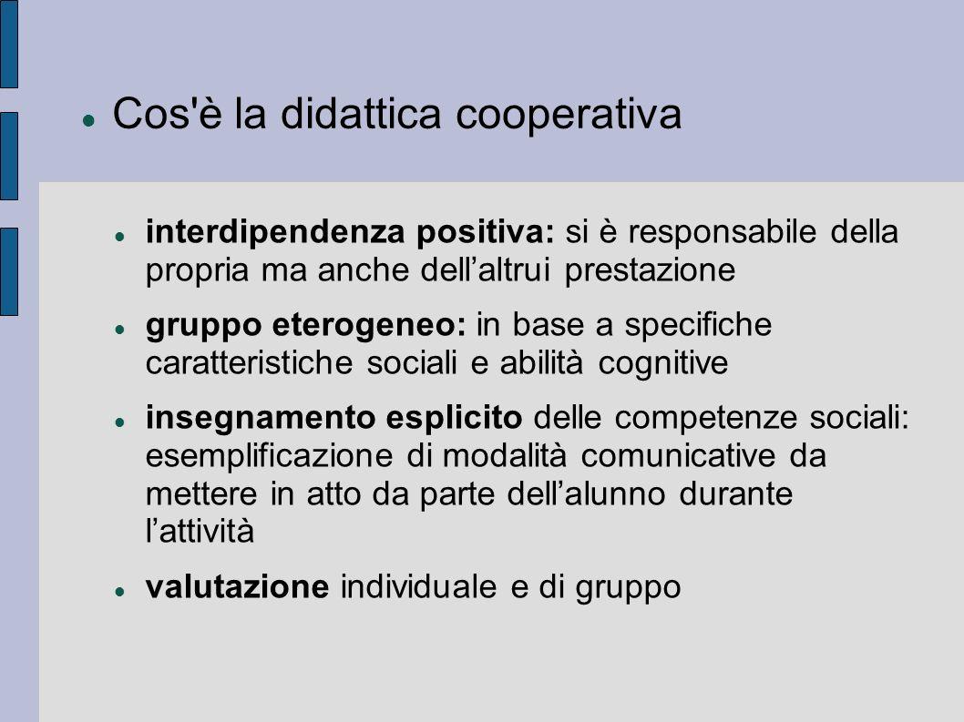 Cos'è la didattica cooperativa interdipendenza positiva: si è responsabile della propria ma anche dellaltrui prestazione gruppo eterogeneo: in base a