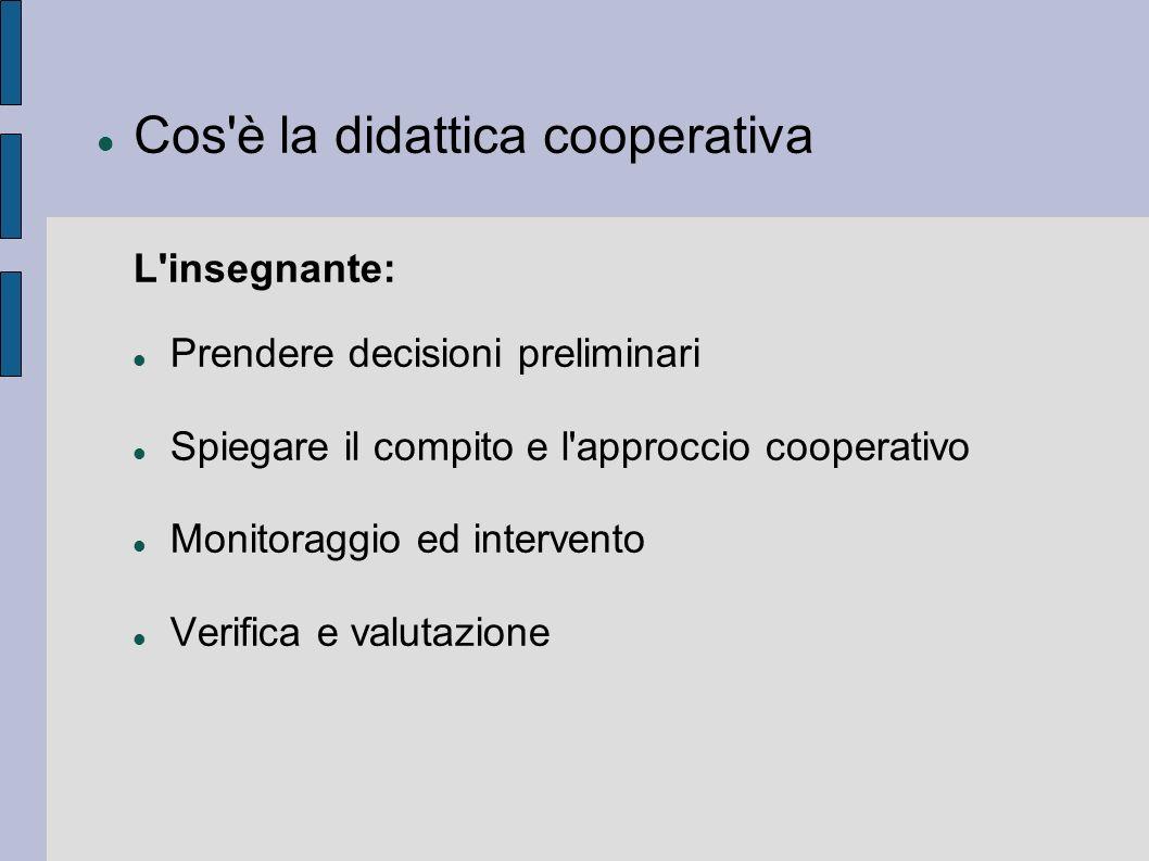 Cos'è la didattica cooperativa L'insegnante: Prendere decisioni preliminari Spiegare il compito e l'approccio cooperativo Monitoraggio ed intervento V