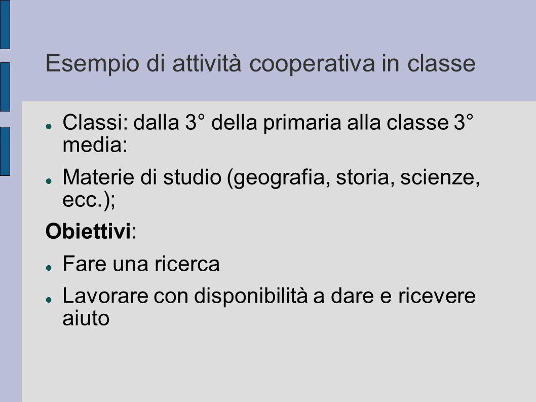 Esempio di attività cooperativa in classe Classi: dalla 3° della primaria alla classe 3° media: Materie di studio (geografia, storia, scienze, ecc.);