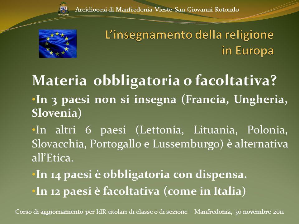 Materia obbligatoria o facoltativa? In 3 paesi non si insegna (Francia, Ungheria, Slovenia) In altri 6 paesi (Lettonia, Lituania, Polonia, Slovacchia,