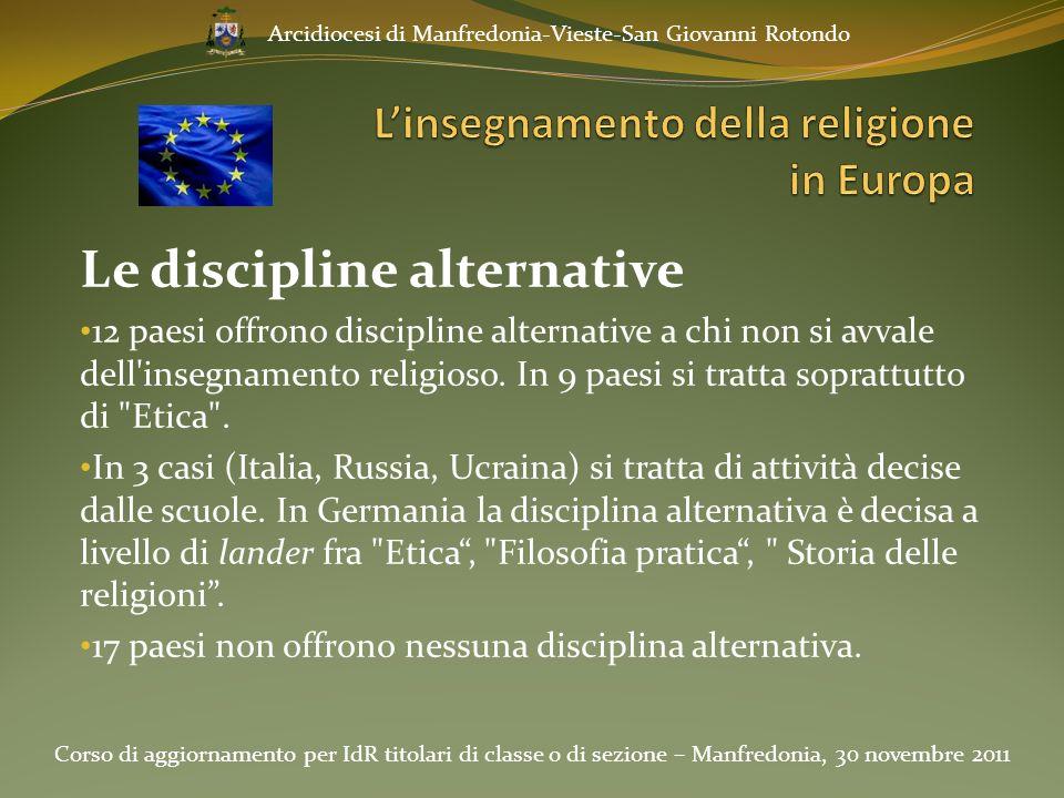 Le discipline alternative 12 paesi offrono discipline alternative a chi non si avvale dell'insegnamento religioso. In 9 paesi si tratta soprattutto di