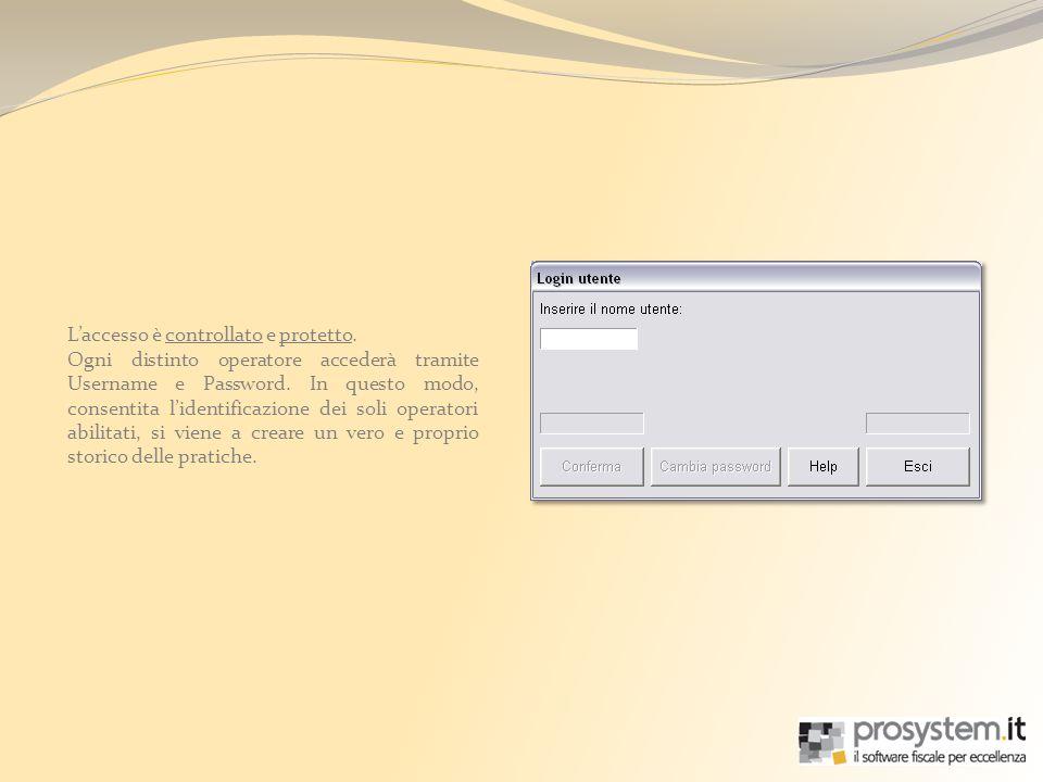Laccesso è controllato e protetto. Ogni distinto operatore accederà tramite Username e Password. In questo modo, consentita lidentificazione dei soli