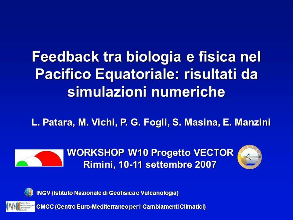 Feedback tra biologia e fisica nel Pacifico Equatoriale: risultati da simulazioni numeriche L. Patara, M. Vichi, P. G. Fogli, S. Masina, E. Manzini IN