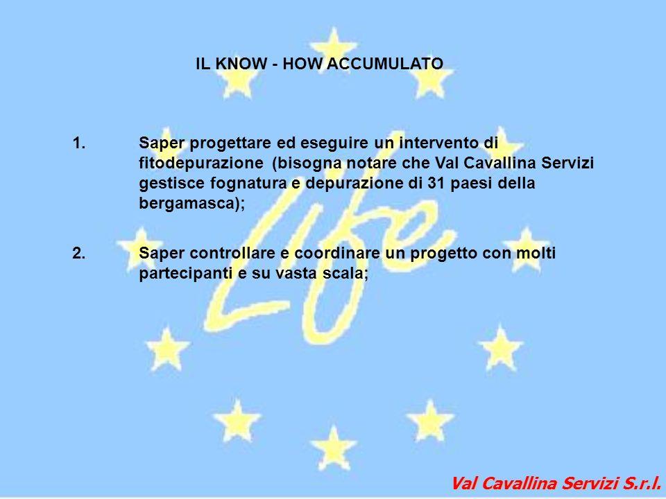 Val Cavallina Servizi S.r.l. IL KNOW - HOW ACCUMULATO 1.Saper progettare ed eseguire un intervento di fitodepurazione (bisogna notare che Val Cavallin