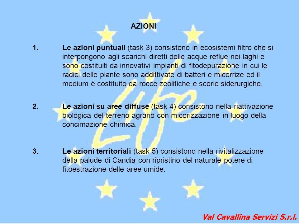 Val Cavallina Servizi S.r.l. AZIONI 1.Le azioni puntuali (task 3) consistono in ecosistemi filtro che si interpongono agli scarichi diretti delle acqu
