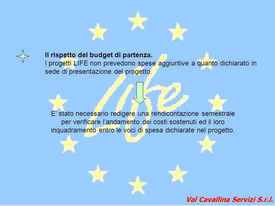 Val Cavallina Servizi S.r.l. Il rispetto del budget di partenza. I progetti LIFE non prevedono spese aggiuntive a quanto dichiarato in sede di present