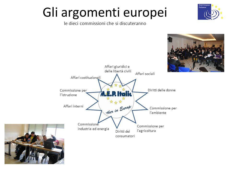 Gli argomenti europei le dieci commissioni che si discuteranno Affari sociali Commissione industria ed energia Affari giuridici e delle libertà civili