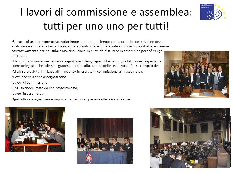I lavori di commissione e assemblea: tutti per uno uno per tutti! Si tratta di una fase operativa molto importante ogni delegato con la propria commis
