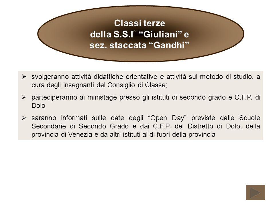 Classi terze della S.S.I˚ Giuliani e sez.