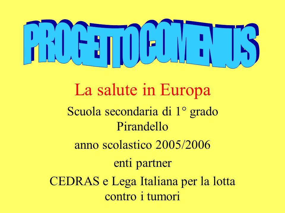 La salute in Europa Scuola secondaria di 1° grado Pirandello anno scolastico 2005/2006 enti partner CEDRAS e Lega Italiana per la lotta contro i tumori