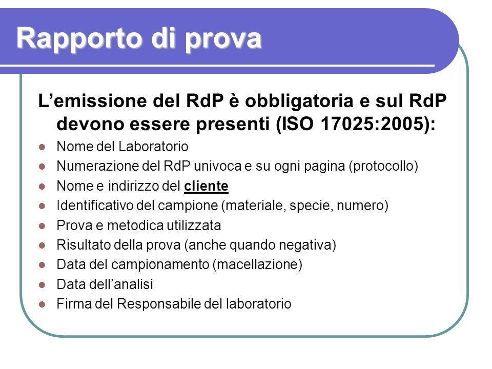 Rapporto di prova Lemissione del RdP è obbligatoria e sul RdP devono essere presenti (ISO 17025:2005): Nome del Laboratorio Numerazione del RdP univoc