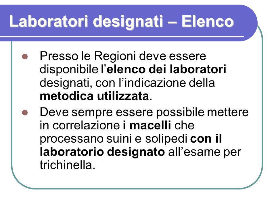 Laboratori designati – Tempistica I laboratori devono lavorare secondo la norma ISO 17025:2005, solo che: Fino al 31/12/2009 i Laboratori annessi a Macello, IZS e pubblici possono avere la prova non accreditata.