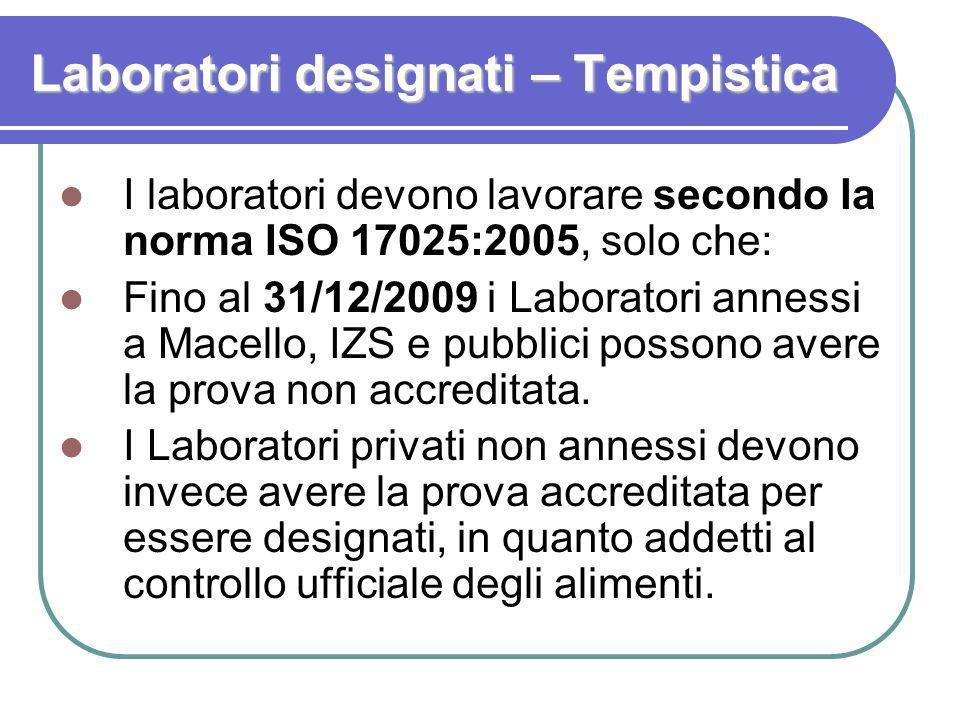 Laboratori designati – Tempistica I laboratori devono lavorare secondo la norma ISO 17025:2005, solo che: Fino al 31/12/2009 i Laboratori annessi a Ma