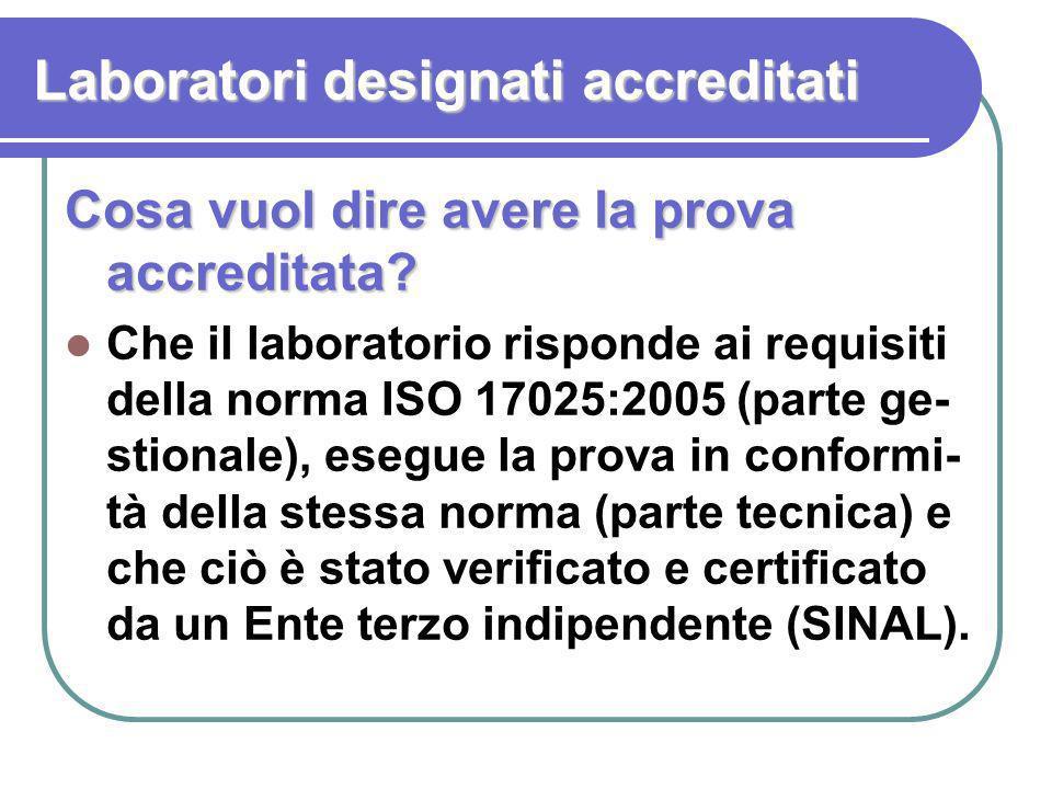 Laboratori designati accreditati Cosa vuol dire avere la prova accreditata? Che il laboratorio risponde ai requisiti della norma ISO 17025:2005 (parte