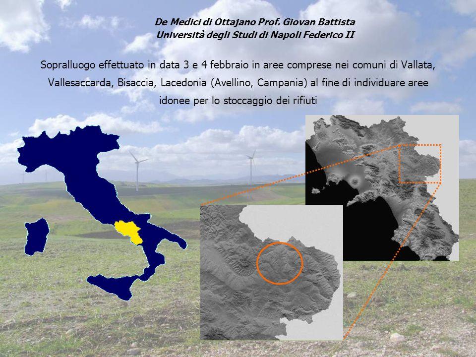 Sopralluogo effettuato in data 3 e 4 febbraio in aree comprese nei comuni di Vallata, Vallesaccarda, Bisaccia, Lacedonia (Avellino, Campania) al fine