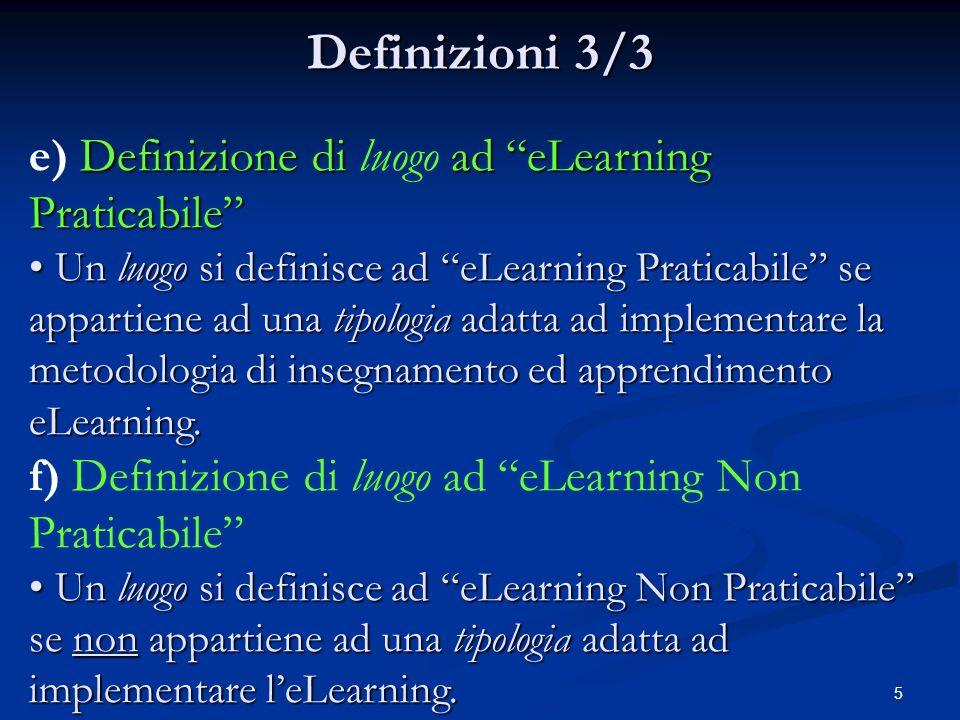 5 Definizioni 3/3 Definizione di ad eLearning Praticabile e) Definizione di luogo ad eLearning Praticabile Un luogo si definisce ad eLearning Praticabile se appartiene ad una tipologia adatta ad implementare la metodologia di insegnamento ed apprendimento eLearning.