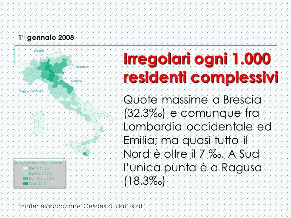 1° gennaio 2008 Irregolari ogni 1.000 residenti complessivi Irregolari ogni 1.000 residenti complessivi Quote massime a Brescia (32,3) e comunque fra Lombardia occidentale ed Emilia; ma quasi tutto il Nord è oltre il 7.