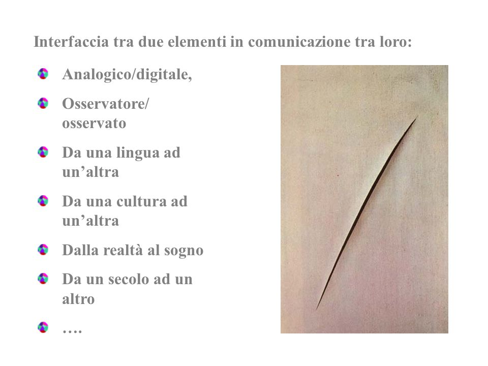 Analogico/digitale, Osservatore/ osservato Da una lingua ad unaltra Da una cultura ad unaltra Dalla realtà al sogno Da un secolo ad un altro …. Interf