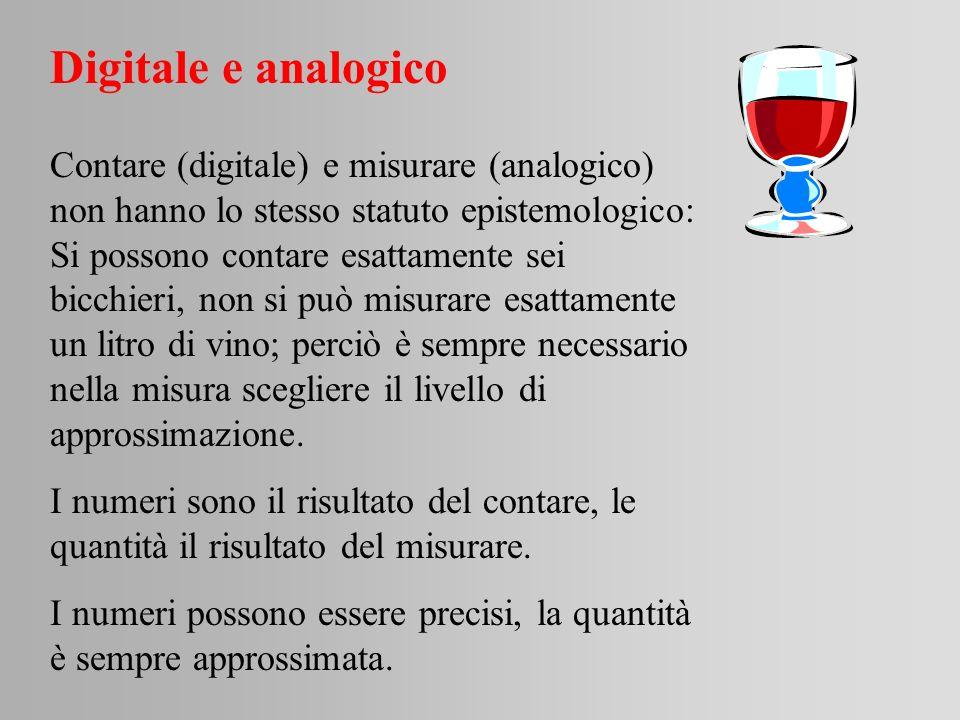Digitale e analogico Contare (digitale) e misurare (analogico) non hanno lo stesso statuto epistemologico: Si possono contare esattamente sei bicchier