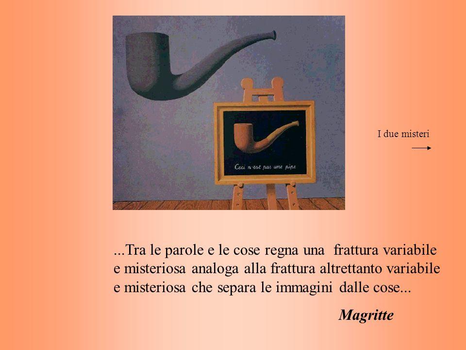 ...Tra le parole e le cose regna una frattura variabile e misteriosa analoga alla frattura altrettanto variabile e misteriosa che separa le immagini d